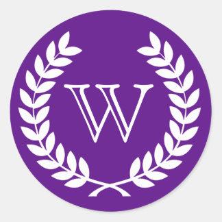 Purple Wheat Laurel Wreath Monogram Env Seals Round Stickers