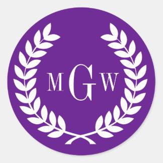 Purple Wheat Laurel Wreath Monogram Env Seals Sticker