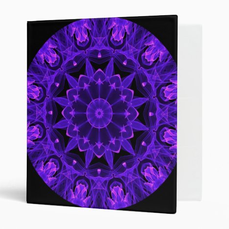 Purple Wheel of Fire Mandala, Abstract Lace Flame 3 Ring Binder