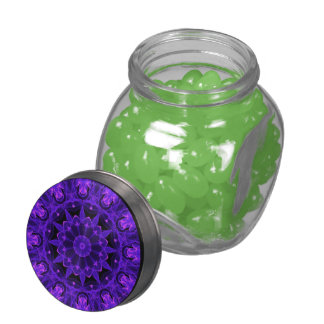 Purple Wheel of Fire Mandala, Abstract Lace Flame Jelly Belly Candy Jar