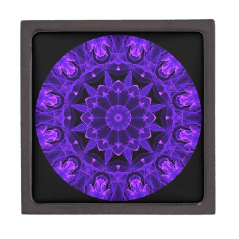 Purple Wheel of Fire Mandala, Abstract Lace Flame Jewelry Box