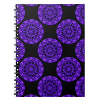 Purple Wheel of Fire Mandala, Abstract Lace Flame Spiral Notebook