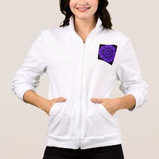 Purple Wheel of Fire Mandala, Abstract Lace Flame Printed Jacket