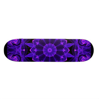 Purple Wheel of Fire Mandala, Abstract Lace Flame Skateboard Deck