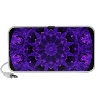 Purple Wheel of Fire Mandala, Abstract Lace Flame Notebook Speakers
