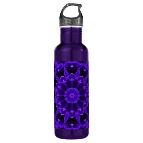 Purple Wheel of Fire Mandala, Abstract Lace Flame Stainless Steel Water Bottle