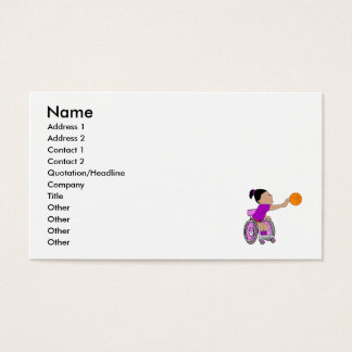 Purple wheelchair girl basketball business card
