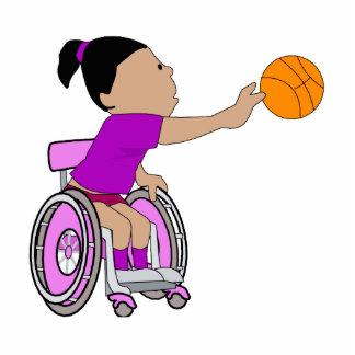 Purple wheelchair girl basketball photo sculptures