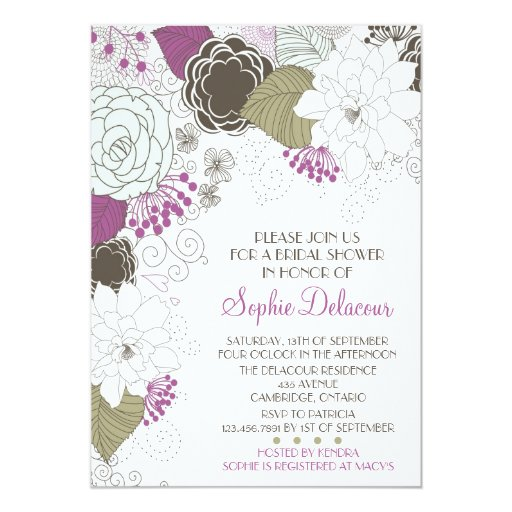 "Purple Whimsical Floral Bridal Shower Invitations 5"" X 7"" Invitation Card"
