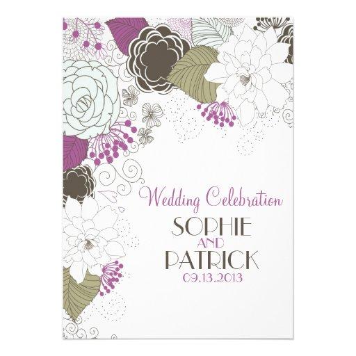 Purple Whimsical Floral Wedding Invitations 5 X 7 Invitation Card