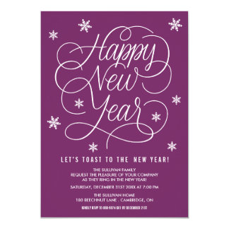 Purple Whimsical New Year's Eve Party Invitation