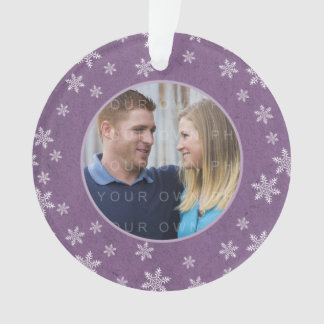 Purple Whimsical Snowflakes Holiday Photo Ornament