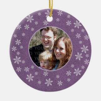 Purple Whimsical Snowflakes Photo Ornament