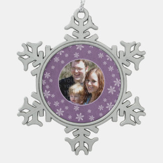 Purple Whimsical Snowflakes Photo Pewter Ornament