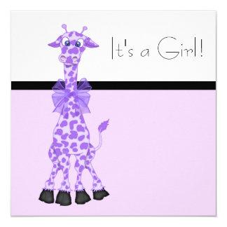 Purple Whimsy Giraffe Baby Girl Shower Card