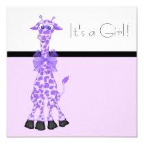 Purple Whimsy Giraffe Baby Girl Shower Invitation