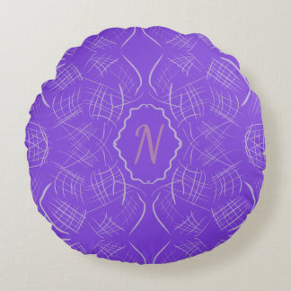 Purple whimsy round pillow