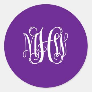 Purple White 3 Initials Vine Script Monogram Stickers