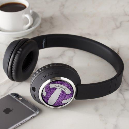 purple white abstract floral girls' volleyball headphones