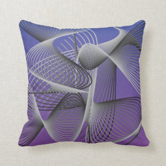 Purple, White and Black Abstract Swirly Design Throw Pillow