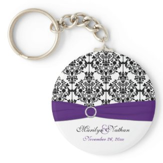 Purple, White and Black Damask Keychain keychain