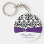 Purple, White and Black Damask Keychain