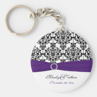 Purple, White and Black Damask Keychain