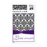 Purple, White, and Black Damask Love Postage