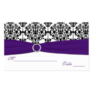 Purple, White and Black Damask Placecards Business Cards