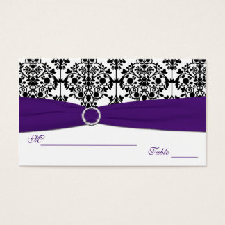 Purple, White and Black Damask Placecards Business Card