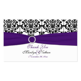 Purple, White and Black Damask Wedding Favor Tag profilecard