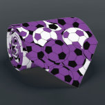 """Purple, White and Black Soccer Ball Collage Tie<br><div class=""""desc"""">Purple soccer men&#39;s tie. Made with high resolution vector and/or digital graphics for a professional print. NOTE: (THIS IS A PRINT. All zazzle product designs are &quot;prints&quot; unless otherwise stated under &quot;About This Product&quot; area) The design will be printed EXACTLY like you see it on the screen and on the...</div>"""