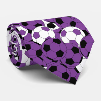 Purple, White and Black Soccer Ball Collage Tie