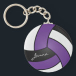 "Purple, White and Black Volleyball Keychain<br><div class=""desc"">Purple, White and Black Volleyball Design keychain with DIY text. Lots of colors available... if you can&#39;t find your color please contact me to help. 100% Customizable. Ready to Fill in the box(es) or Click on the CUSTOMIZE button to add, move, delete, resize or change any of the font or...</div>"