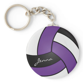Purple, White and Black Volleyball Keychain