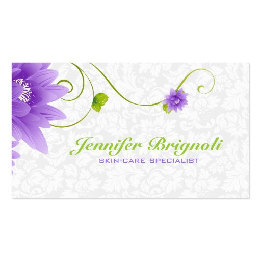 Purple White And Green Floral Design Business Card Template
