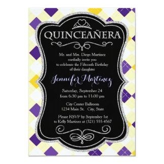 Purple, White, and Yellow Argyle Pattern 4.5x6.25 Paper Invitation Card