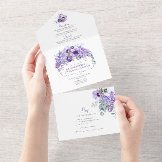 Purple & White Anemones, Purple Lilacs Floral   All In One Invitation