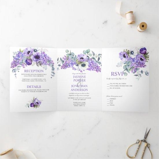 Purple & White Anemones, Purple Lilacs Floral Tri-Fold Invitation
