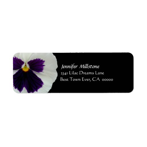 PURPLE & WHITE Angel Pansy Wedding Address Label