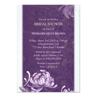 Purple & White Asian Mum Modern Bridal Shower Card