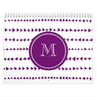 Purple White Aztec Arrows Monogram Calendar
