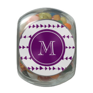 Purple White Aztec Arrows Monogram Jelly Belly Candy Jars