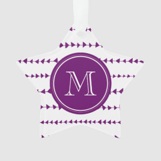 Purple White Aztec Arrows Monogram Ornament