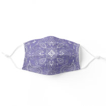 Purple, White Bandana Paisley Pattern Print Cool Cloth Face Mask