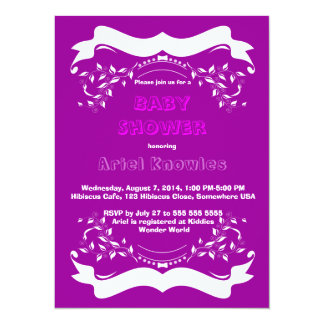 Purple White Banners Floral Baby Shower Invitation
