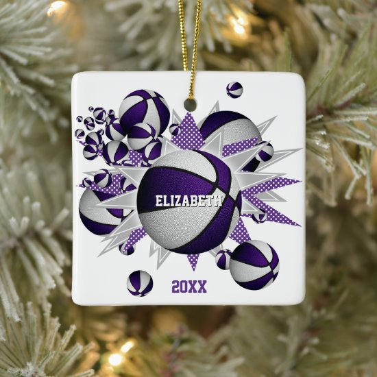 purple white basketball blowout girls sports ceramic ornament