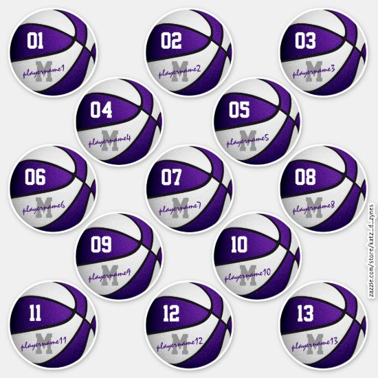 purple white basketball custom players names sticker