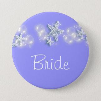 Purple white beach bride bridal button