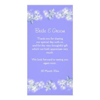 Purple white beach starfish wedding card